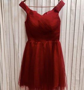 Платье вечернее, красное, размер S/M
