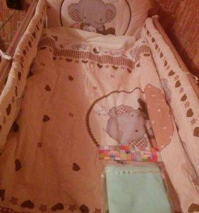 Детская кроватка+матрас+одеяла+бортики итд.
