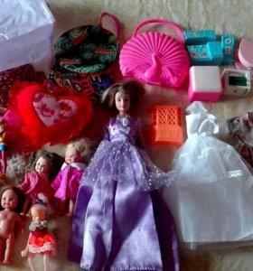 Куклы мебель и игрушки для девочек пакетом