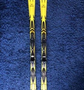 Горные лыжи с креплениями, ботинки, палки, чехол