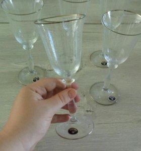5 бокалов из богемского стекла