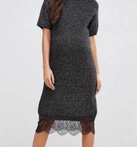 Платье-джемпер  oversize с кружевом