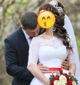 Счастливое свадебное платье+шубка+ подьюбник