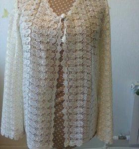 Нарядная кружевная накидка-блузка