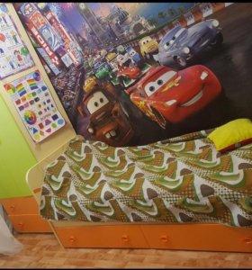 Шкаф 2 шт. кровать с выкатными ящиками