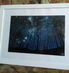 Картина 6. Рисунок пастелью. Звёздное небо.