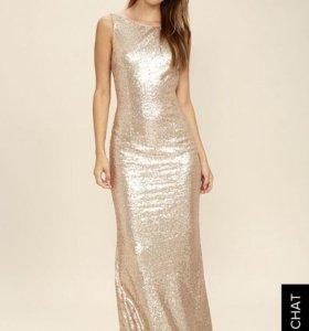 LU LU'S Вечернее золотое платье в пайетках S