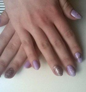 Покрытие ногтей гель-лаком, окраска бровей