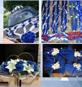 Свадебные украшения и кольца на машину в аренду