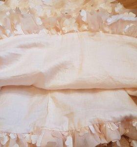 Платье Шопетт с объемными цветами, персиковое р104