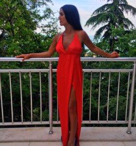 Шелковое Красное платье в пол
