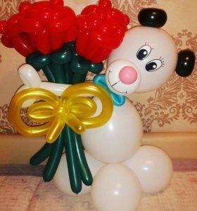 Букет из шаров ( собачка с розами)
