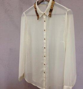 Кремовая блузка рубашка с бронзовыми паетками