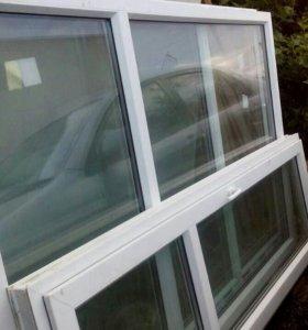 Новые пластиковые окна 2 шт 210*135 и дверь 210*70