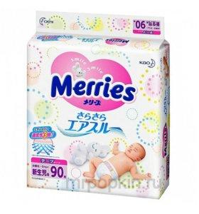 Подгузники MERRIES NB (0-5кг) 90шт