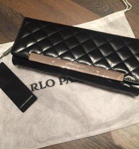 Новая кожаная сумка клатч Carlo Pazolini