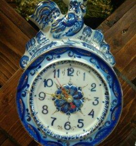 Часы настенные Гжель, Петух позолоченные