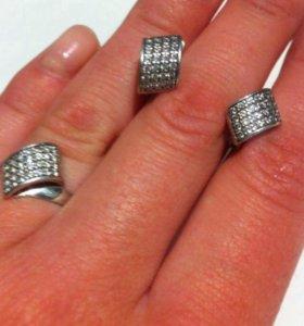 Серьги и кольцо серебро 925