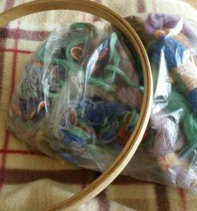 Пяльца+набор ниток для вышивания