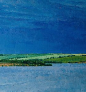 "Картина ""Вид на реку Уса"". Холст, масло. 30х60."