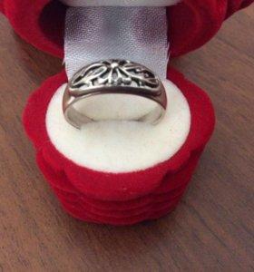 Кольцо р.17,5 серебряное с чернением, 925 проба
