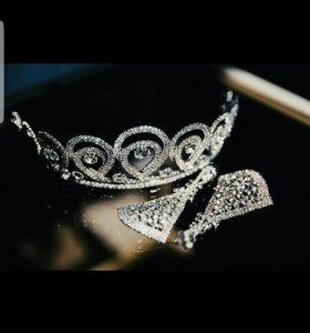 Свадебный набор ( тиара+серьги)