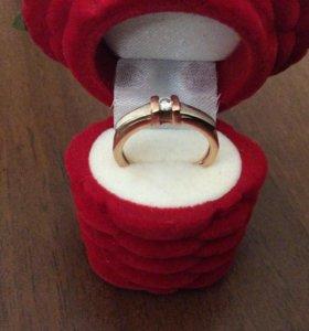 Кольцо с бриллиантом, 585 проба, р.16, Адамас