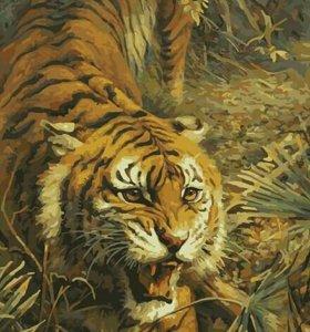 Картина по номерам- тигр на охоте