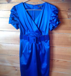 Платье ярко-синие с поясом