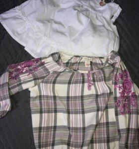 Белый летний топ-майка и рубашка на 4-5 лет