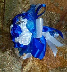 Букет дублер на свадьбу в синем цвете