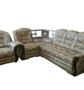 """0521 диван угловой """" Аделина с баром и креслом """""""