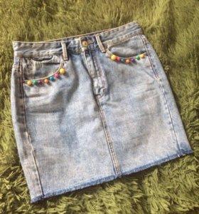 Pull&bear юбка джинсовая