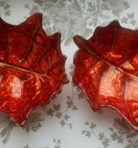 Две тарелочки вазочки Листья новые