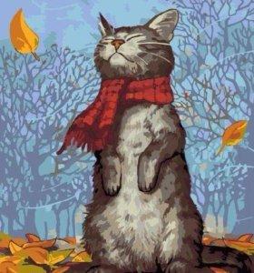 "Картина по номерам ""Котик в шарфике"""