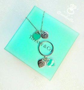 Кольцо и подвеска два сердца (серебро, эмаль)