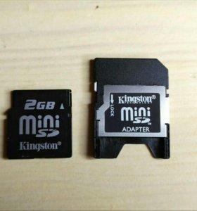 Карта памяти kingston mini SD 2gb + адаптер