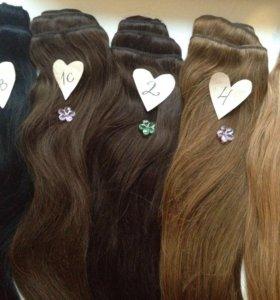 Волосы на заколках (натуральные пряди)