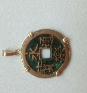 Древняя китайская монета кулон в золоте 4 к
