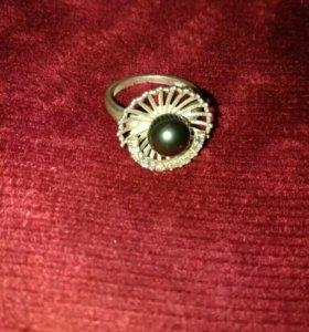 Кольцо серебро,чёрный жемчуг 925