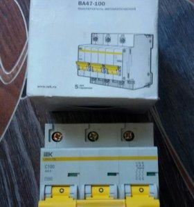 Выключатель автоматический 3 ф. ВА47-100 АМПЕР