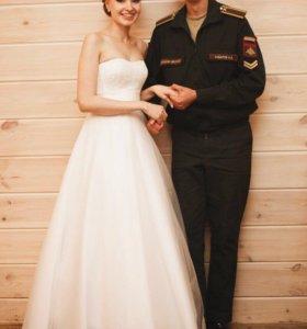 Свадебное платье + 🎁 подъюбник, 2 кольца