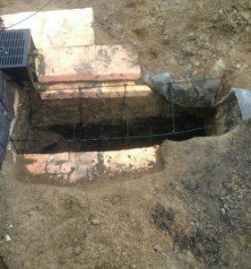 Выкопка и вязка арматуры и залитие бетоном