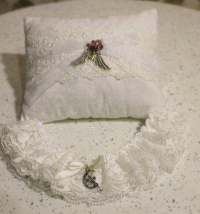 Набор ( подушечка для колец и подвязка)