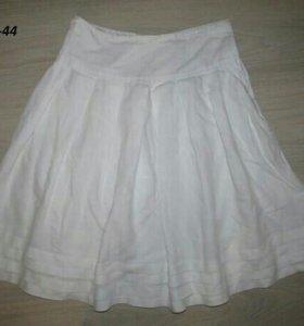 белая юбка, лён