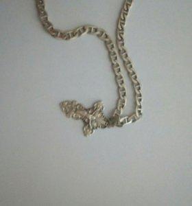 Серебряная цепь с крестом 925 проба