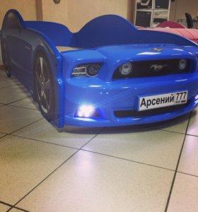 Детская кровать машина Мустанг Plus синяя