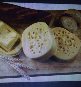 Домашнее масло сливочное и сыр сулугуни