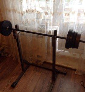 Жим лёжа и штанга 60 кг.