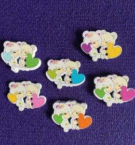 Пуговицы 3шт деревянные мишки с сердцами скрап